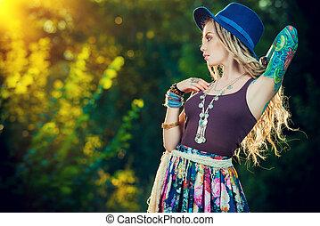 boho clothes - Boho style fashion. Beautiful young woman...