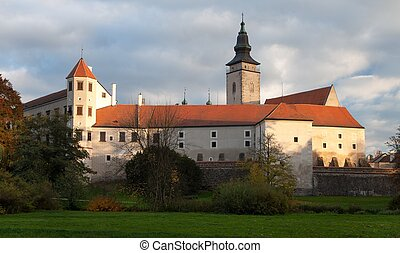 Evening panoramic view of Telc or Teltsch town castle or...