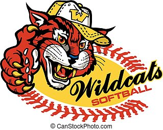 wildcats softball team design with mascot for school,...