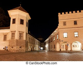 Night view of Telc or Teltsch town square, Czech republic...