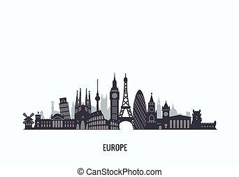 Europe skyline silhouette.