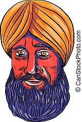 Sikh Turban Beard Watercolor - Watercolor style illustration...