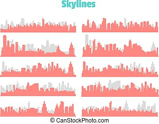 Big City Skylines - Set of generic red and gray big city...