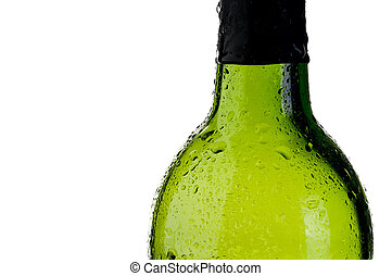 abstract close up of a cold green bottle  with copy space