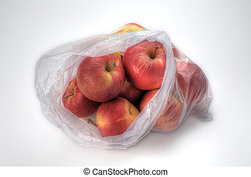 Glowing Fresh - A Plastic Bag of Gala Apples Isolated on...