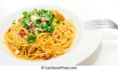 Italian food - Italian spaghetti with sun-dried tomatoes,...