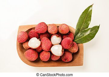 fresh lychees on white background. Fresh fruits