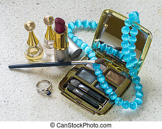 Cosmetics jewelry - Image of ojects cosmetics jewelry and...