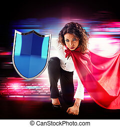 Antivirus superhero - Woman as superhero with cape and...
