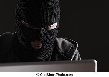acessando, dados, mascarado, homem, computador