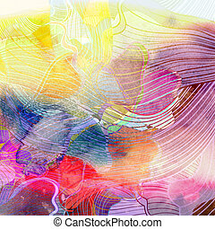 Abstract colorful watercolor background - watercolor retro...