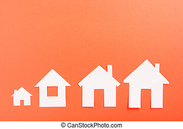 White paper house figure. Real Estate Concept. Top view. -...