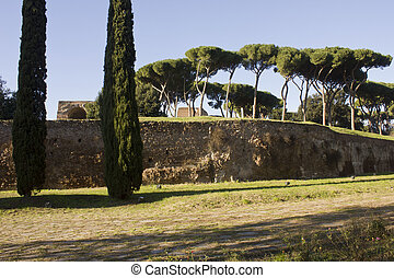 View of Palatine Hill from Via di San Gregorio in Rome, with...