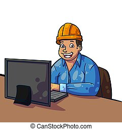 contractor - Friendly contractor in his office reviewing the...