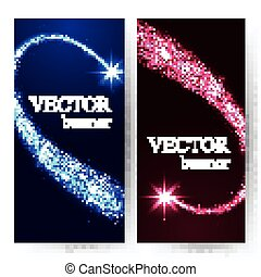 Vertical banners with shining falling stars in the night sky.