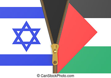 Flags of Israel and Palestine, conflict concept
