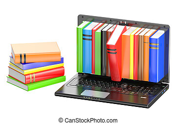 Laptop and stack of color books