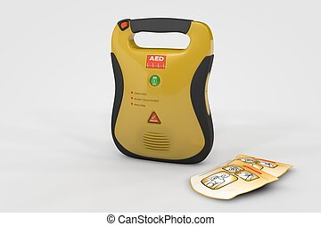 AED Defibrillator - Computer rendered illustration one AED...