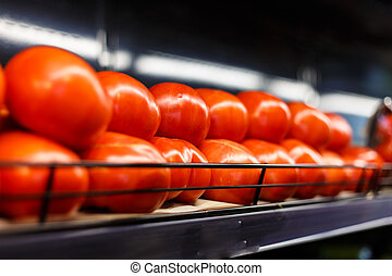 Tomatoes in the supermarket - Tomatoes are on the shelf in...