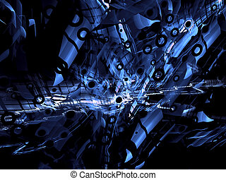 Abstract technology style digitally generated blue...
