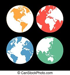 multi-colored Earth continents - Beautiful vector...