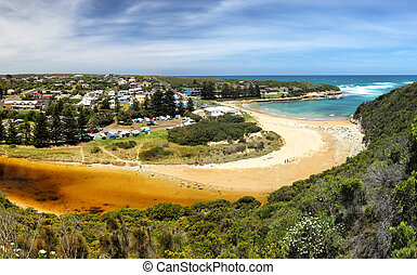 Port Campbell - View over Port Campbell and the river mound...