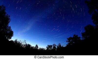 Starry night over the meadow, Krasny Yar, Omsk Region,...