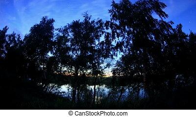 Sunrise on the river Irtysh. Krasny Yar, Omsk Region,...