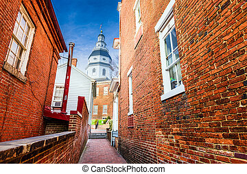 Maryland State House - Annapolis, Maryland, USA view of the...