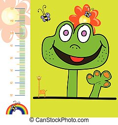 children meter wall illustration with rainbow