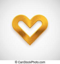 Gold Abstract Heart Sign - Gold abstract heart sign badge,...