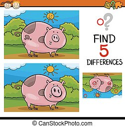 finding differences task - Cartoon Illustration of Finding...