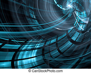 Abstract blue computer-generated image in technology style...