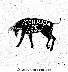 Hand drawn bull, Corrida de toros Spanish bullfight - Hand...