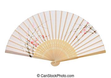 Traditional folding fan - Folding fan isolated on a white...