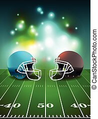 American Football Helmets on Field - American football...