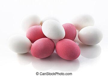 potasa, preservado, huevos, grupo, con, sal, conserva,...