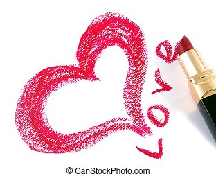 Drawn heart and lipstickLove - Drawing Heart Shape by...