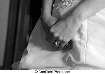 Bride hand and wedding ring