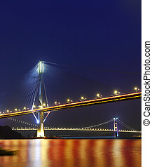 Ting Kau Bridge and Tsing ma Bridge at evening, in Hong Kong...