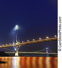 Ting Kau Bridge and Tsing ma Bridge at evening, in Hong Kong...