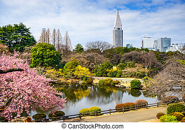 Shinjuku in Spring - Tokyo, Japan at the Shinjuku District...