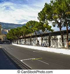 Starting grid asphalt Monaco race Grand Prix circuit -...