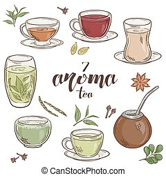 vector set of 6 isolated cartoon hand drawn aroma tea. -...