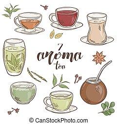 vector set of 6 isolated cartoon hand drawn aroma tea. -...
