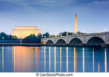 Washington DC Monuments - Washington DC, USA skyline on the...