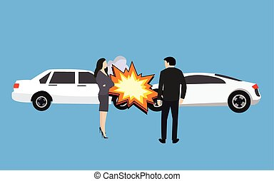 car crash accident collision man woman standing vector...