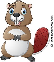 Cartoon beaver - vector illustration of Cartoon beaver