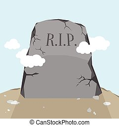 Gravestone - Vector cartoon illustration of a gravestone