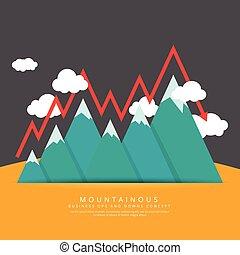 Mountainous - Vector illustration of mountain range with...
